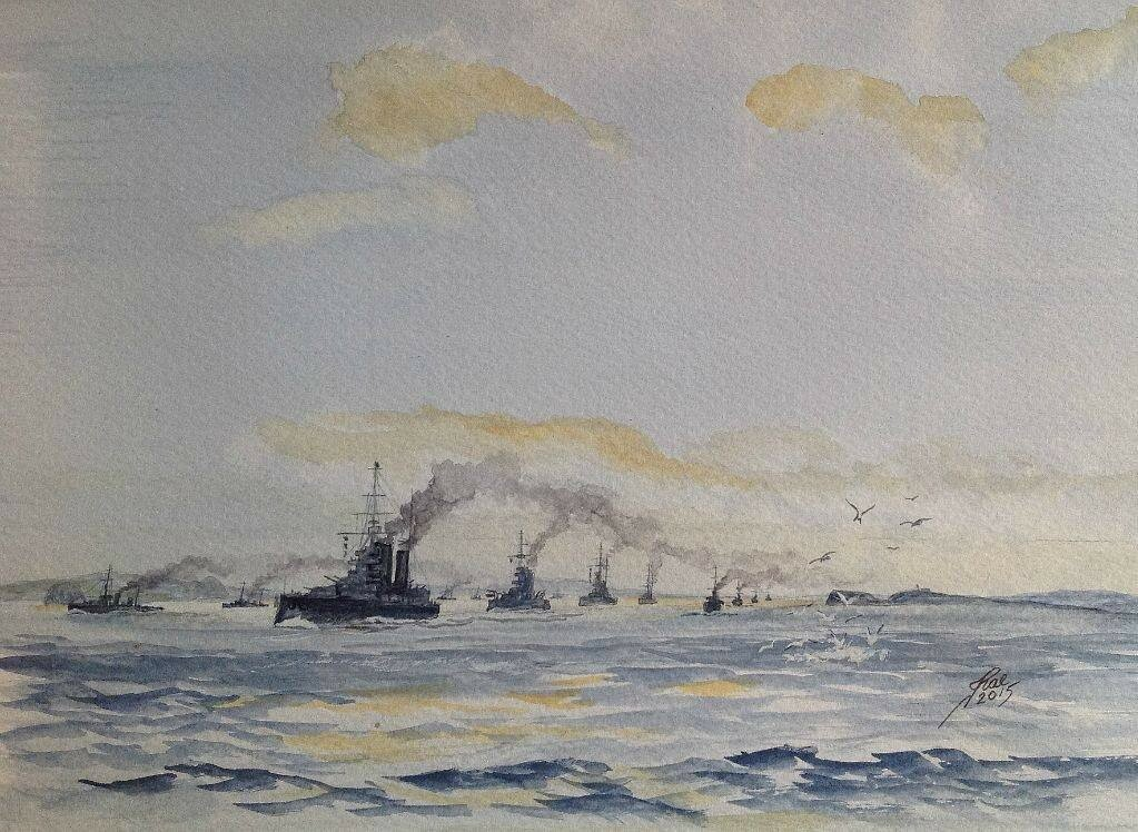 1st Battle Cruiser Squadron passing May Island and Bass Rock.