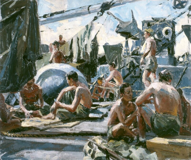 William F. Draper - Waiting (1944) Aboard a transport bound for Guam, Marines make themselves at home.