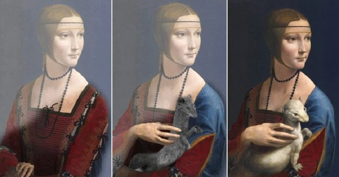 5. Сначала голову женщины украшала прозрачная вуаль, которая позже была зарисована волосами. Кроме т