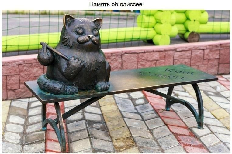 В Мурманске находится памятник коту Семену, который прошел более 2000 км, чтобы вернуться к свои
