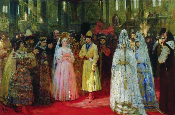 Выбор царской (великокняжеской) невесты. Репин И.Е., 1884-1887.  На первом этапе «отбора» пр