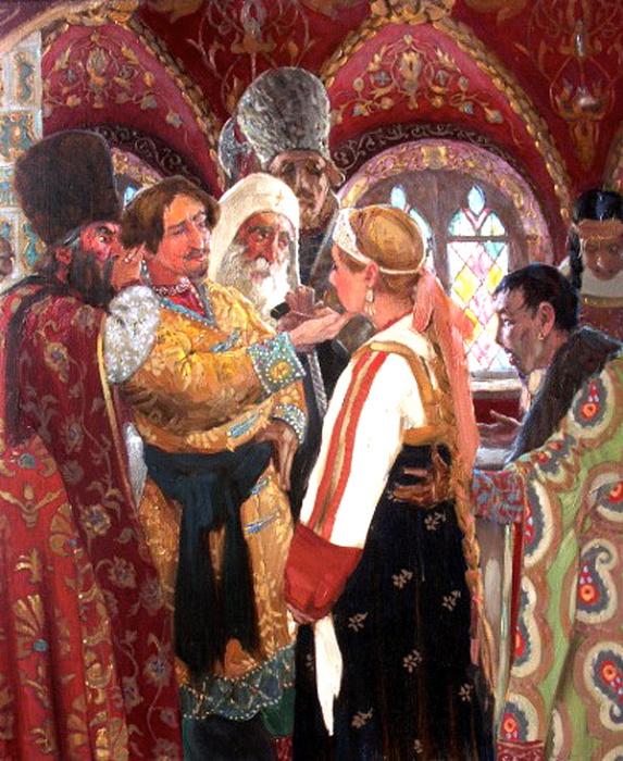 Выбор невесты. Кириллов И.  Их поселяли в большом красивом доме, всех одели в красивые плать