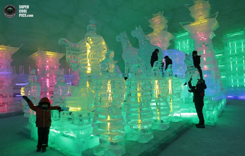 Участники фестиваля, вдоволь наловив рыбы, наслаждаются подсвеченными ледяными скульптурами. (Ch