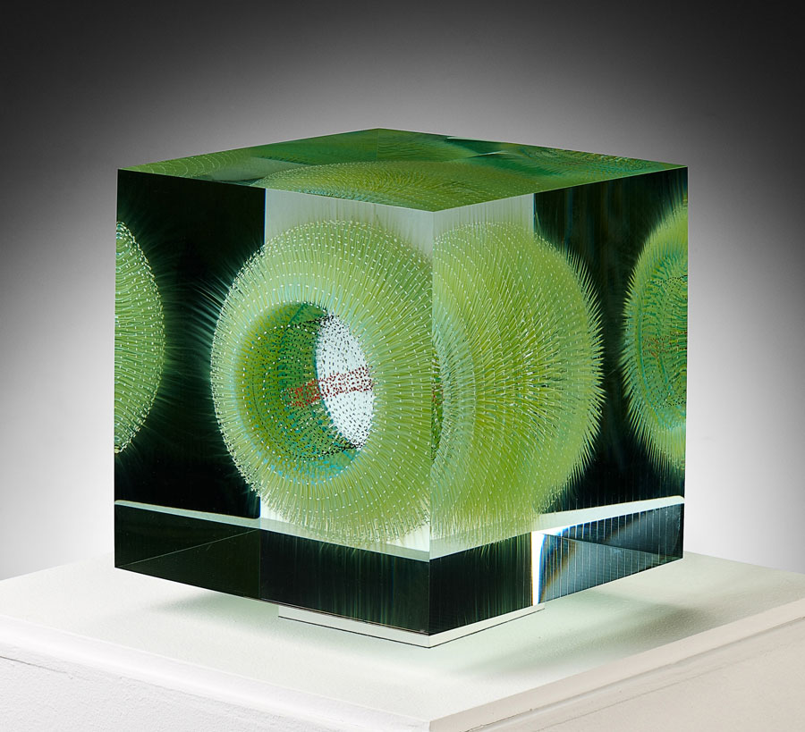 Where the Shark Bubbles Blow, 2012; 9.5 x 8.25 x 8.25 inches; optical float glass. Painted, laminate
