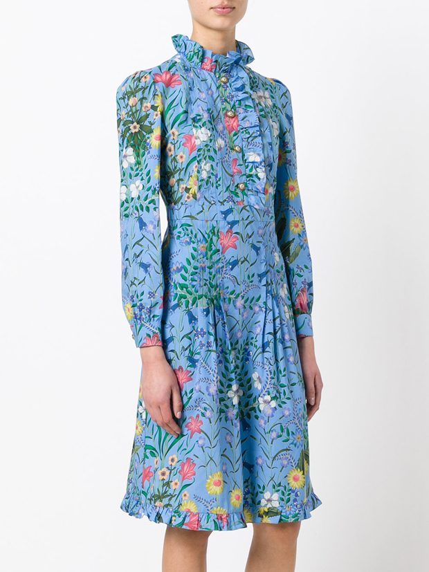 GUCCI New Flora ruffle trim dress