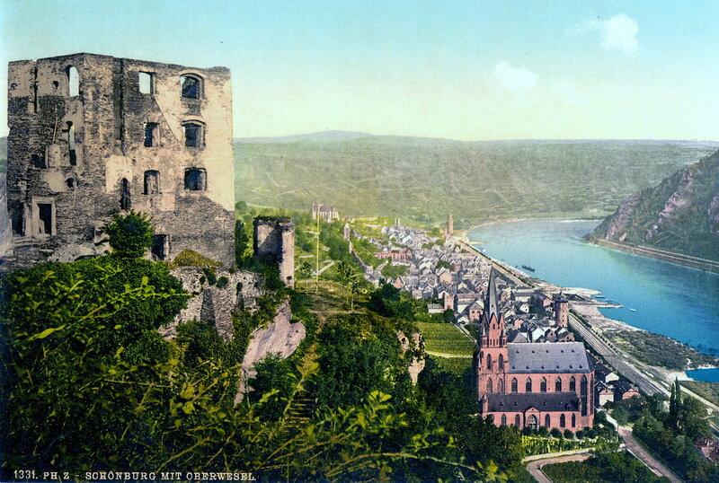 замок Шёнбург и город Обервезель, конец XIX века