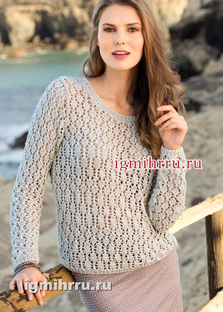 Пуловер цвета сизаля с ажурным узором. Вязание спицами