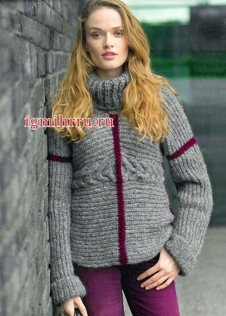 Теплый серый свитер с пурпурными линиями. Вязание спицами