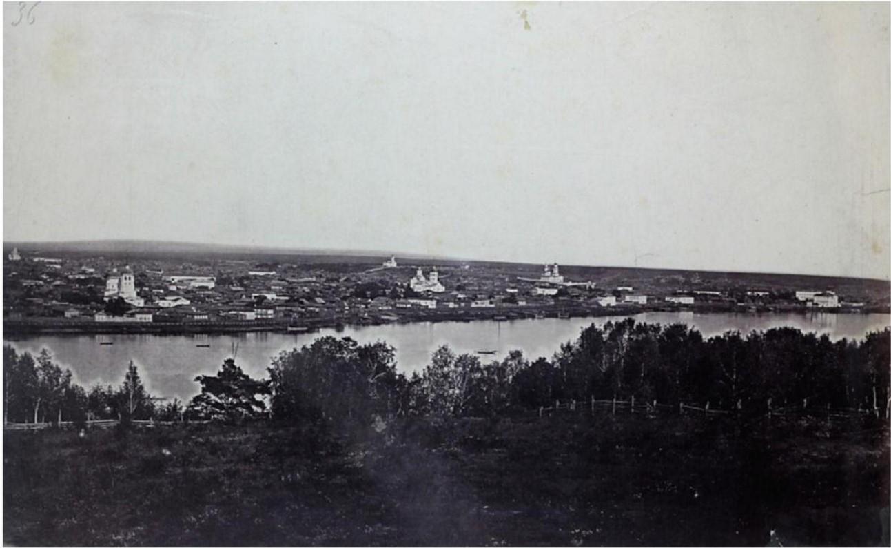 Панорама города с Кайской горы. Вид набережной от Троицкой церкви до здания Девичьего института