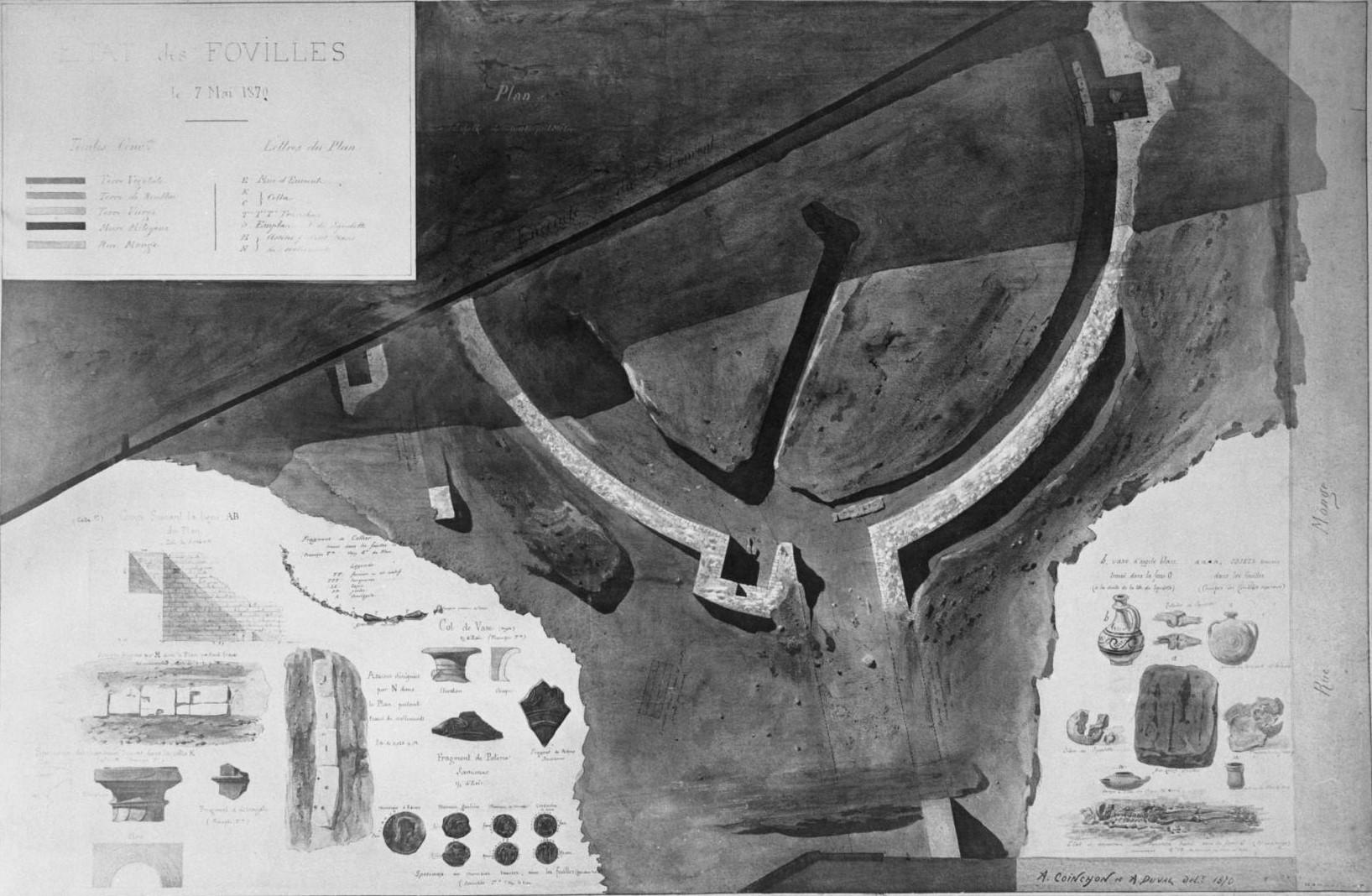 Карта  раскопок Арен Лютеции, от 7 мая 1870