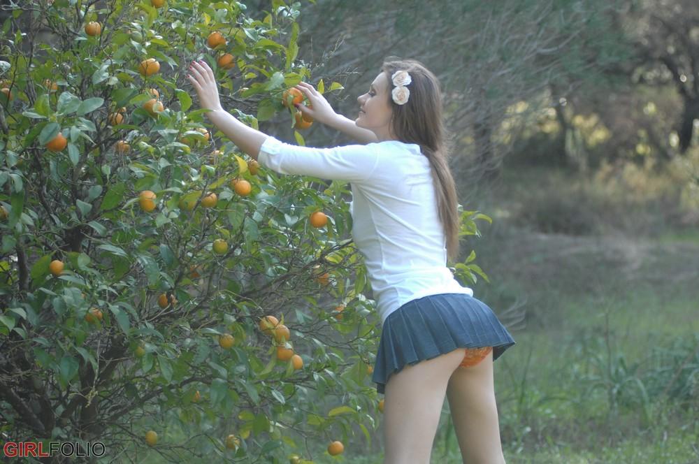 Tina Kay собирает мандарины
