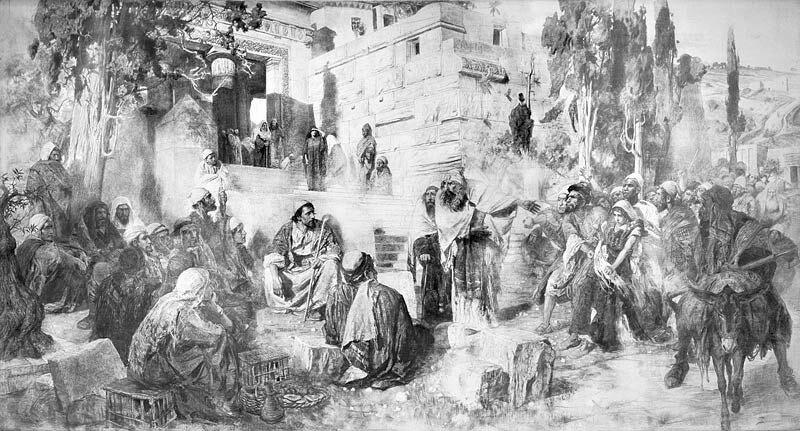 В.Д. Поленов. Христос и грешница. Картон для картины того же названия.1885. Холст, уголь, мел. 308 х 586.