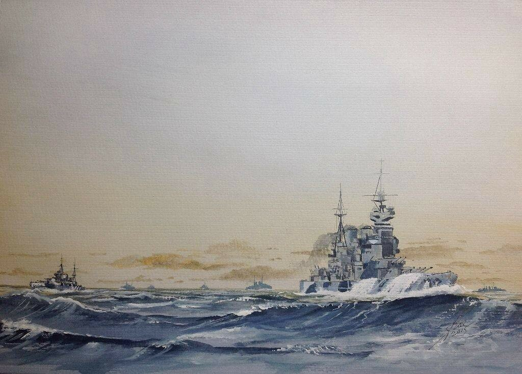 Battleship ANSON and Cruiser DEVONSHIRE , distant escort for a convoy.