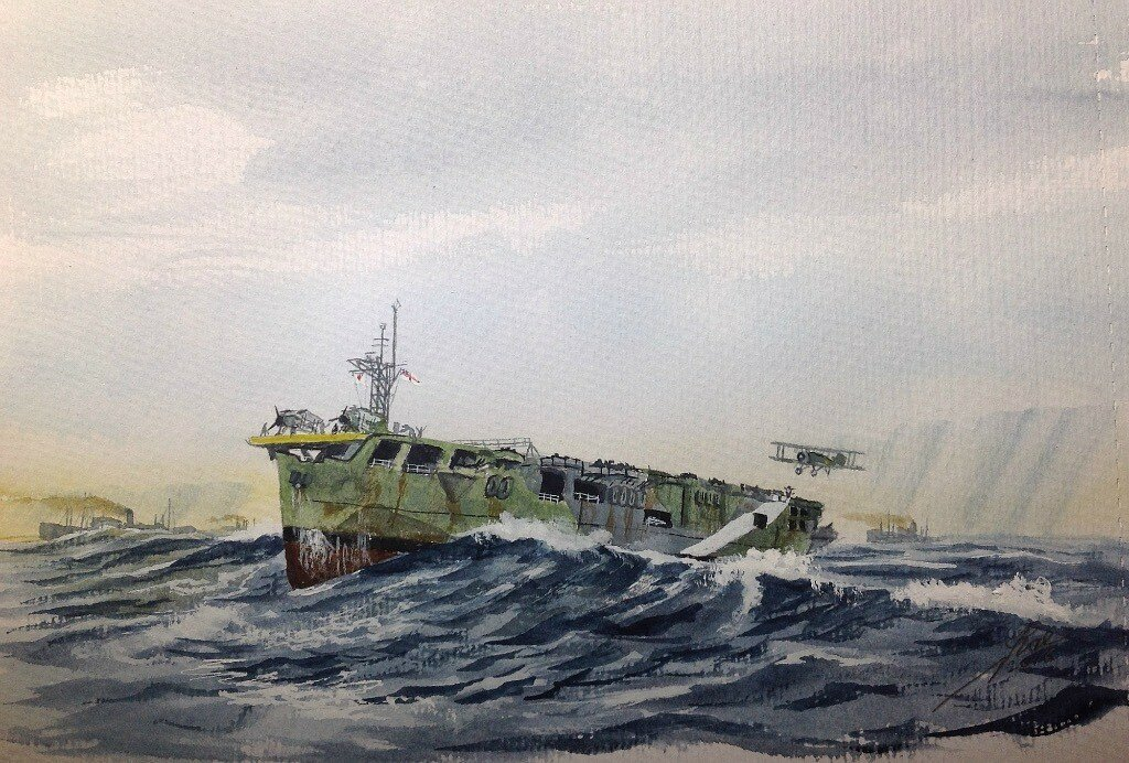 Quick sketch of HMS Nairana for an ex crew member who served in her in WW2.