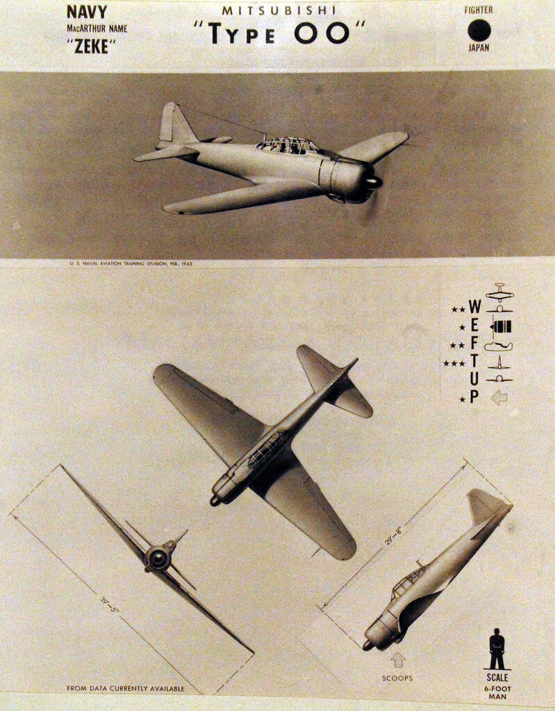 """Recognition drawing Japanese fighter Mitsubishi """"Zeke"""" Type 00. October 23, 1943."""