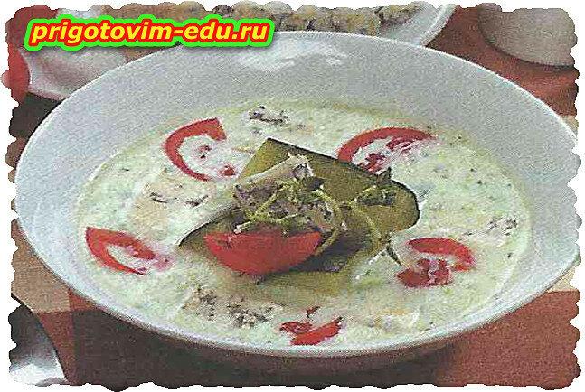 Итальянский супчик с цукини, сыром и томатами