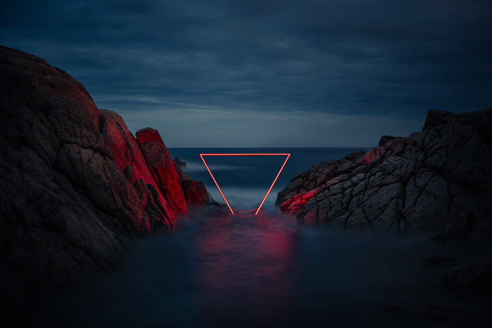 Geometric Light Installations by Nicolas Rivals Bathe the Spanish Countryside in Red (8 pics)