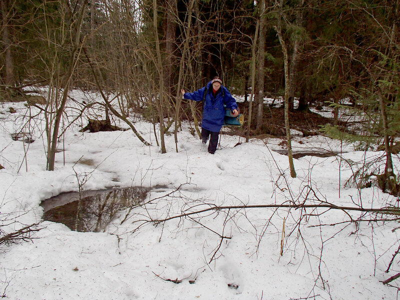 пеший поход на девятом месяце  беременности по снегу