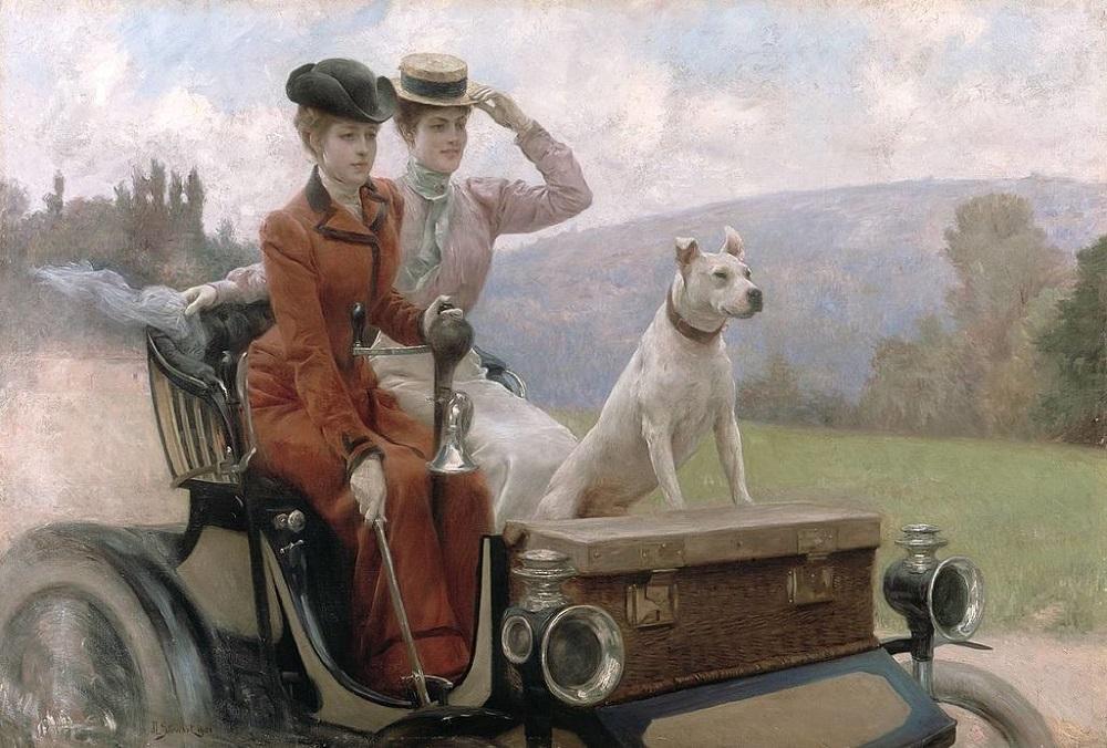 Леди Голдсмит в Булонском лесу в 1897 году на автомобиле (The Ladies Goldsmith to the wood of Boulogne in 1897 on a car)