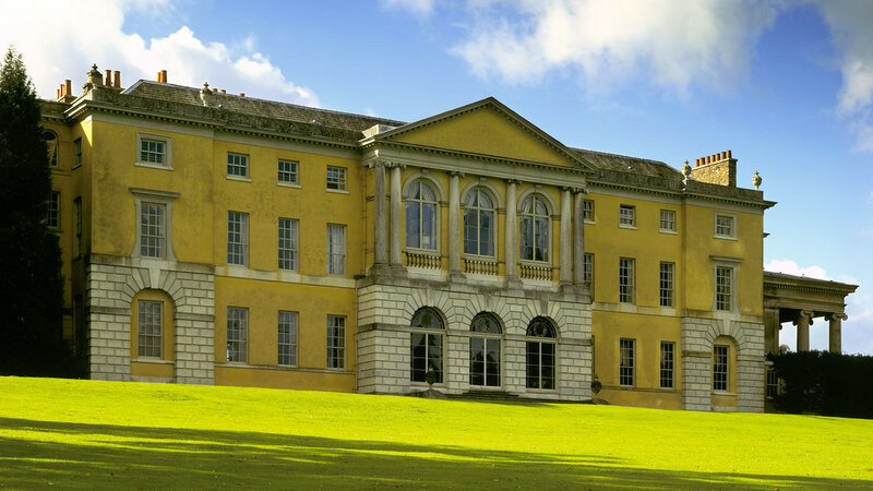 Close up view of the 11-bay north front at West Wycombe Park, Buckinghamshire