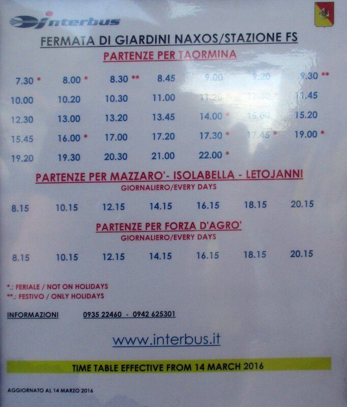 Schedule of the local buses at the station of Taormina-Giardini