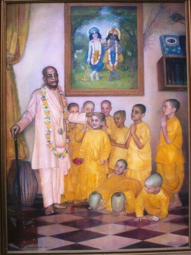 Шрила Прабхупада и мальчики из Гурукулы
