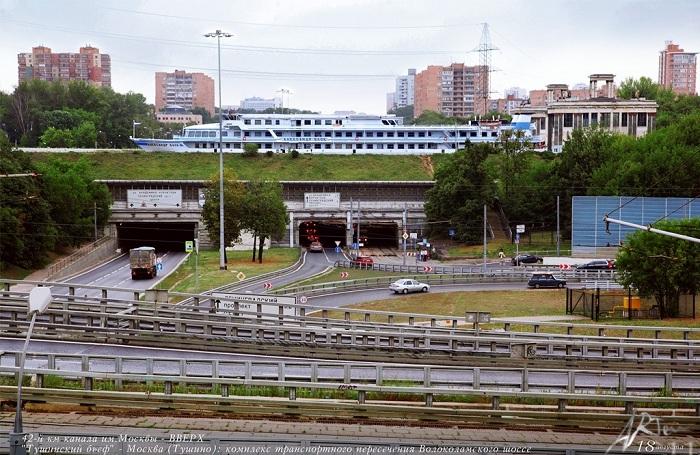 Комплекс транспортного пересечения Волоколамского шоссе. В 2001 году проезд под судоходным мостом пр