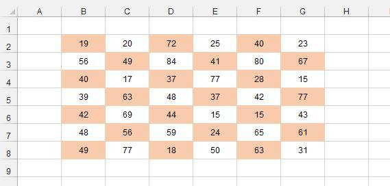 Рис. 2. Заливка ячеек в шахматном порядке, полученная в результате условного форматирования