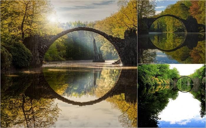 Постройка 19 века. Вместе со своим отражением в озере Чертов мост образует безупречно правильный кру