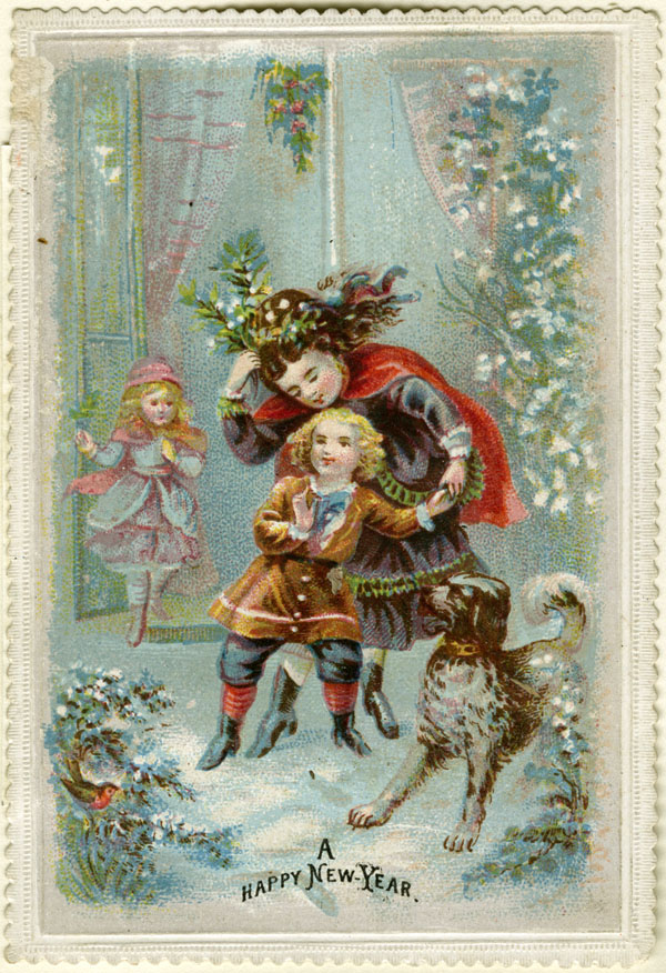 A Happy New Year. Victorian greetings card