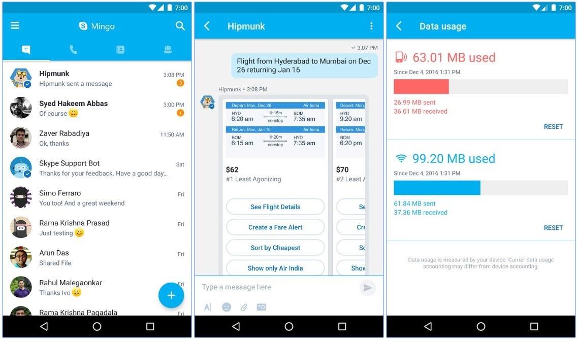 Microsoft разместила наGoogle Play Skype Mingo для Android