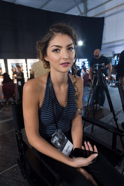 A model backstage ahead of the Kristina Fidelskaya show during Fashion Forward Spring/Summer 2017 at