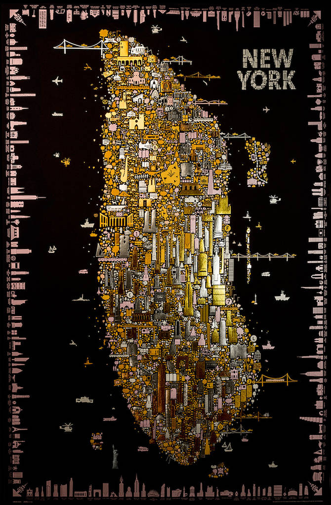 Refined Gold Map Inspired by Klimt