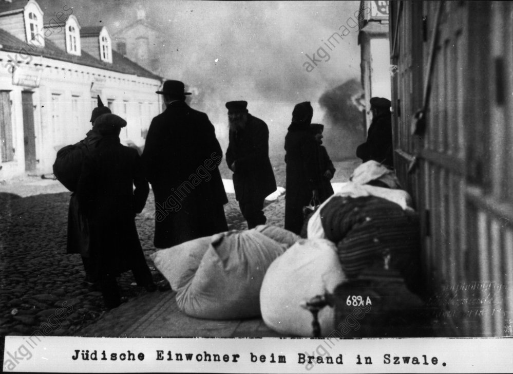 Jьdische Einwohner beim Brand in Szwale - Jewish residents at the fire in Szwale -