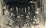 German soldiers in a dugout waiting for an Allied artillery barrage to lift, c. 1917..jpg