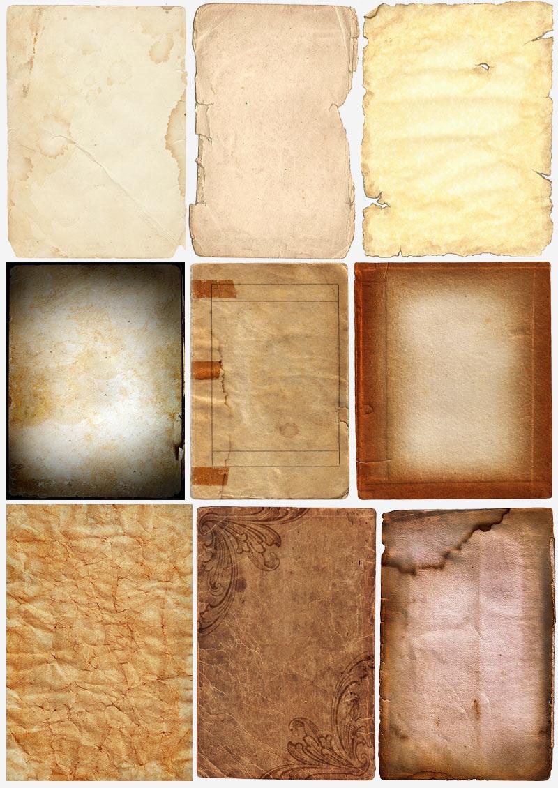 Текстуры старой бумаги, картона, обложек
