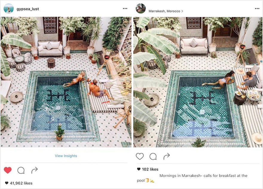 Пара обнаружила, что кто-то в точности копирует их снимки из поездок в Instagram