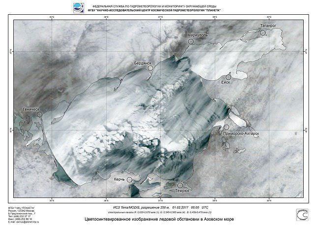 Азовское море практически на100% покрылось льдом
