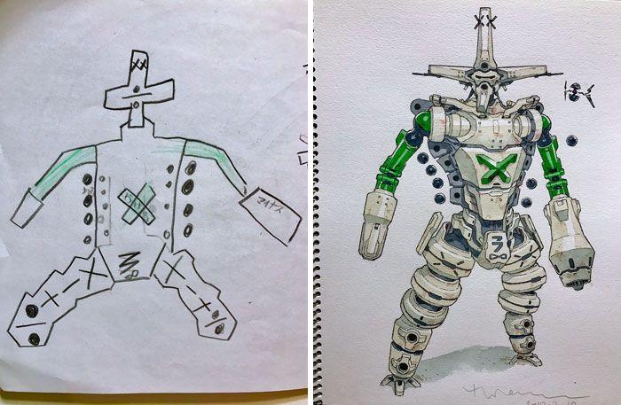Аниме-художник превращает рисунки сыновей в крутых персонажей