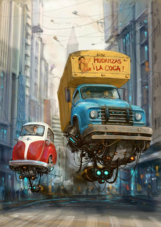 Carros voadores: As ilustracoes futuristas de Alejandro Burdisio