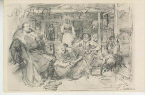 И.Е. Репин. В избе сапожника. 1879 г. Почтовая открытка,.jpg