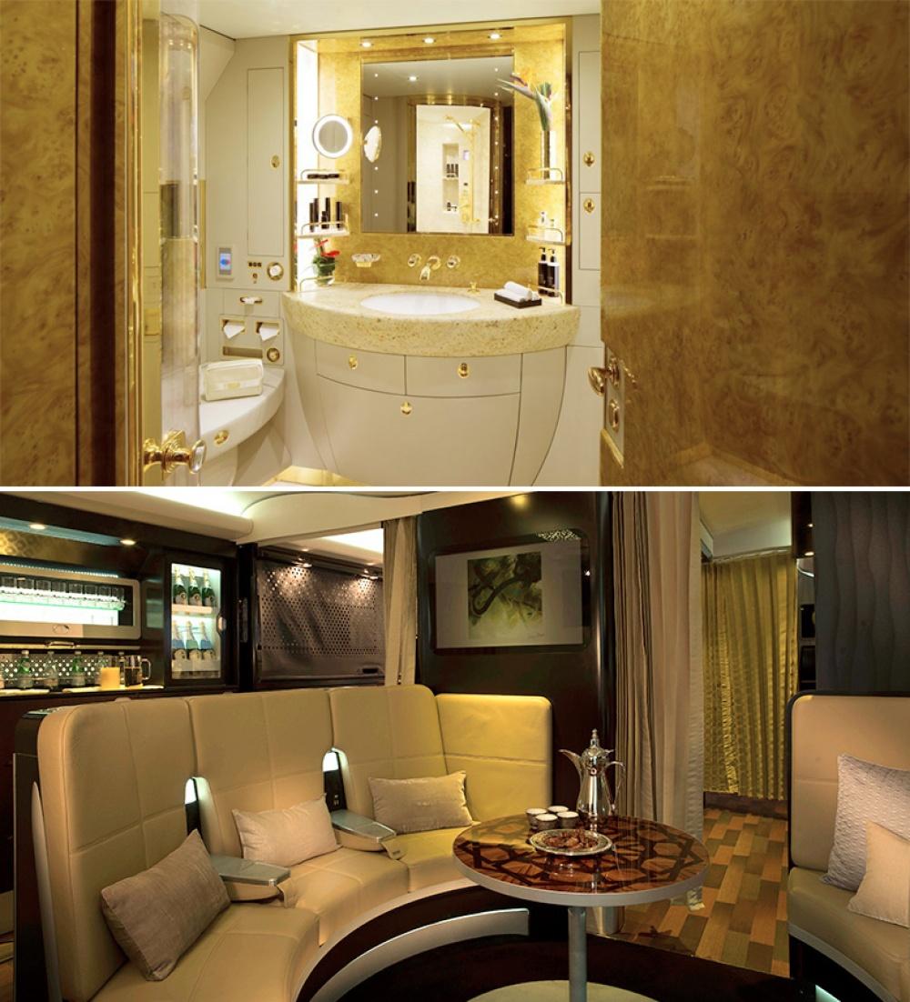 © etihad  © emirates  Тут есть свой душ, туалет идаже собственная гостиная.  Великоб
