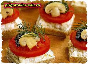 Бутерброды с грибами и яйцами