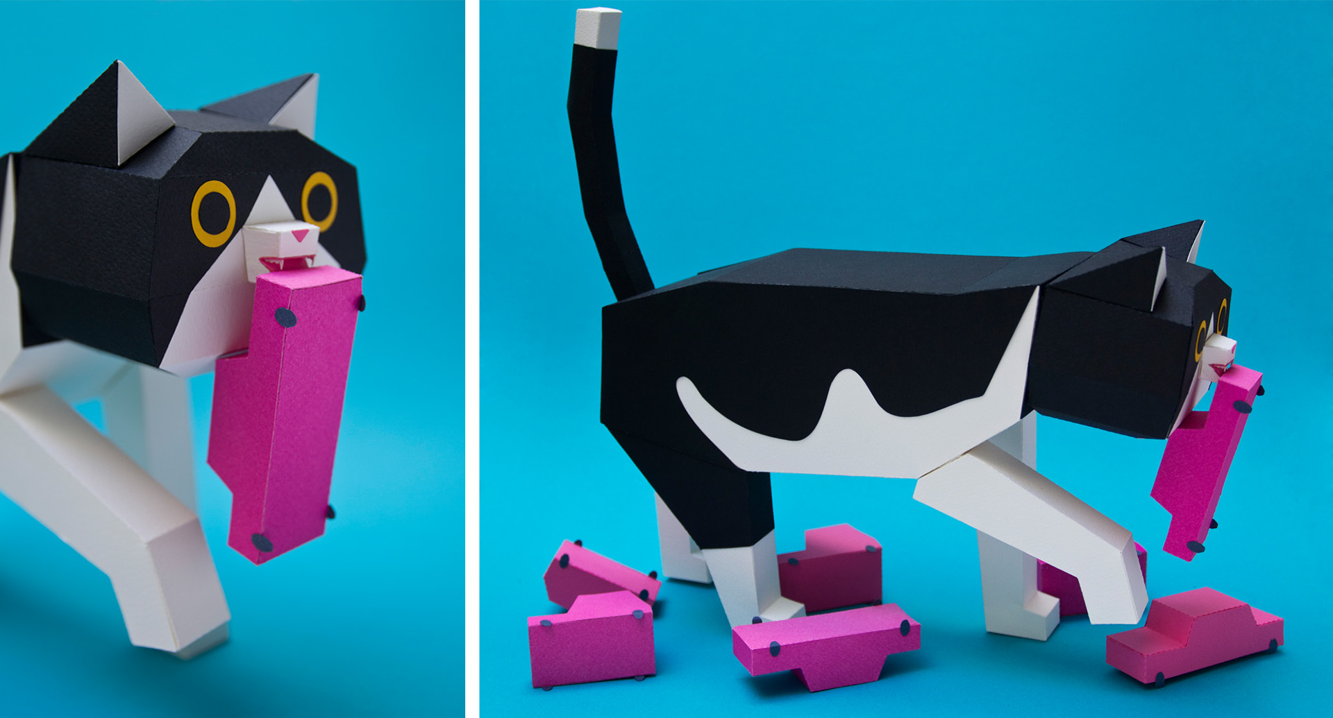 Cute Animals in Cardboard to Assemble