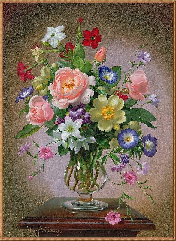 4_Букет цветов в стеклянной вазе (A bouquet of flowers in a glass vase)_х.,м._Частное собрание.Альберт Вильямс (Albert Williams), 1922-2010. Англия.jpg