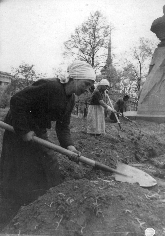 1942. Домохозяйка П. Королева готовит грядки для посева овощей в саду Трудящихся (Александровском саду). Июнь
