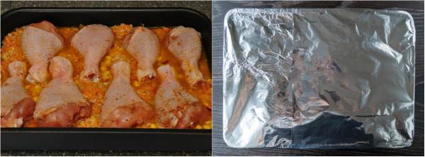 Сочное куриное мясо и вкуснейший гарнир в одной тарелке. Во время запекания рис пропитывается всеми