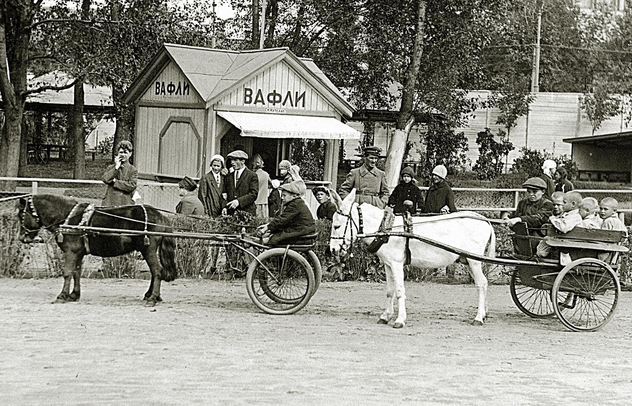 Катание на ослах и пони, 1930-е годы. Фото: архив Московского зоопарка.