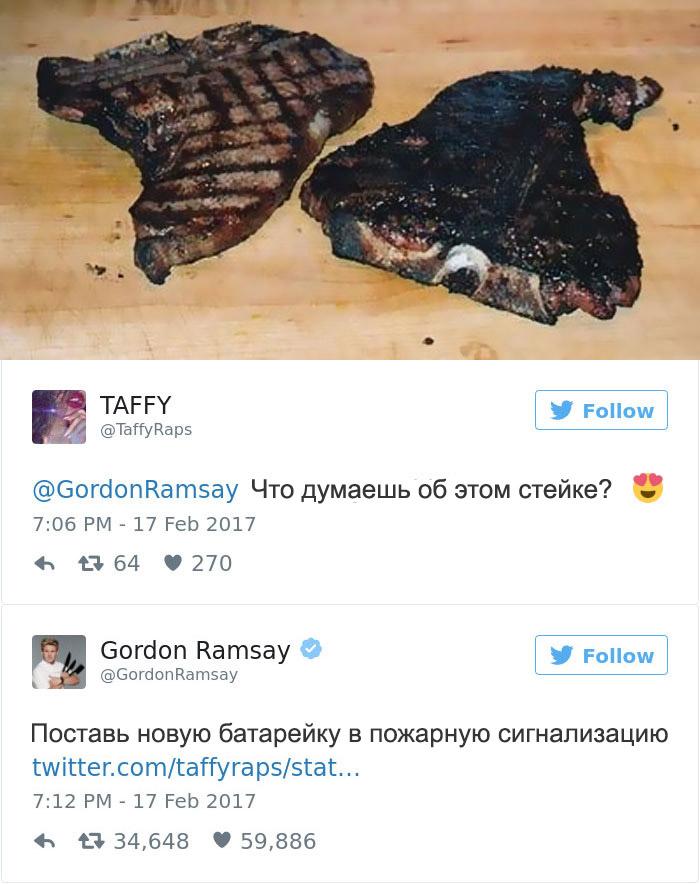 Эти люди пожалели, что решили показать свои блюда в твиттере повару Гордону Рамзи