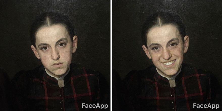 Парень ходит по музеям и «смешит» старинные портреты с помощью приложения FaceApp (12 фото)